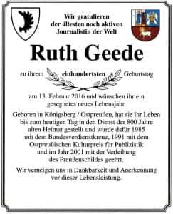 100. Geburtstag von Ruth Geede