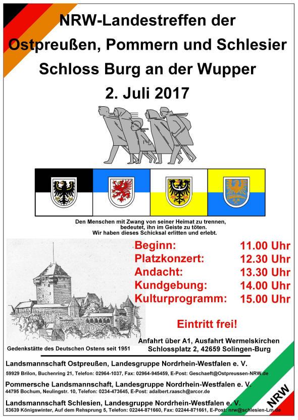 NRW-Treffen der Ostpreußen, Pommern und Schlesier am 2. Juli 2017 auf dem Schlossplatz in Burg (Solingen)