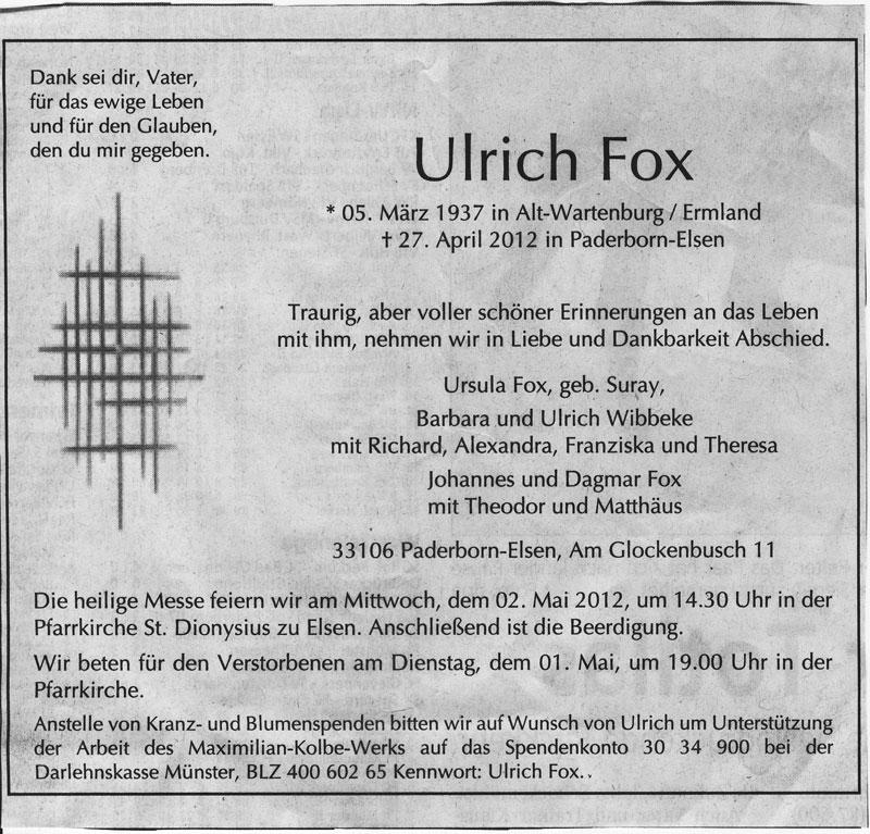 Ulrich Fox (1937-2012) gestorben