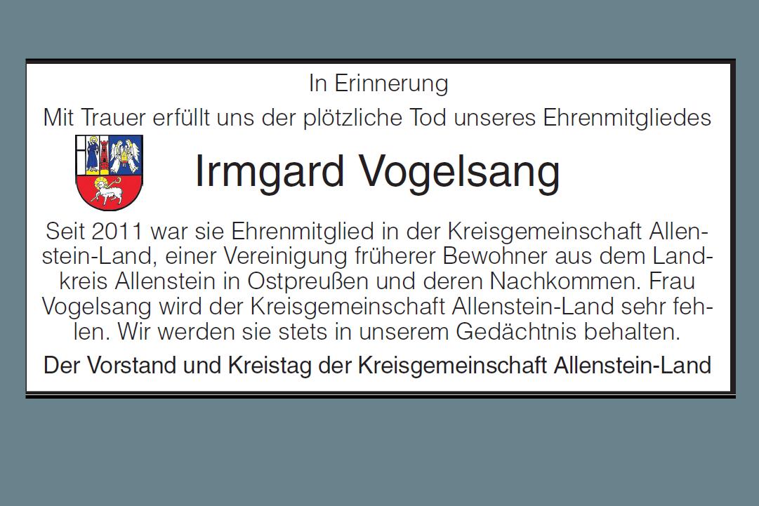 Wir nehmen Abschied von Irmgard Vogelsang